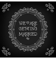 We are getting married card Black board Monogram vector image vector image
