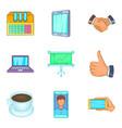 web company icons set cartoon style vector image vector image