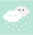 white gray cloud rain drop icon set smiling vector image vector image