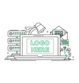 Work Place - line design with vector image vector image
