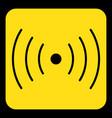 yellow black sign - sound vibration symbol icon vector image vector image
