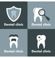 Dental clinic logo on gray background vector image