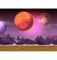 Cartoon alien fantastic landscape with moons and vector image