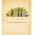 2015 with a Christmas tree on old paper background vector image vector image