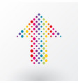arrow made up of small colorful polka dots vector image vector image