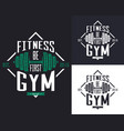 barbell or rod dumbbell or weight for gym t-shirt vector image vector image
