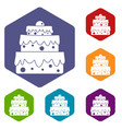 big cake icons set hexagon vector image