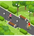 Biker in park woman running Cycling on bike path vector image vector image