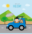 boy summer travel vacation holiday car vector image