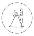 bride and groom holding hands icon black color in vector image
