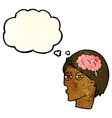 cartoon man thinking carefully with thought bubble vector image vector image