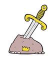 comic cartoon sword in stone
