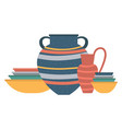 containers for kitchen plates and vases jars vector image