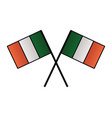 crossed irish flags on white background vector image