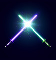 crossed neon swords with trembling blades fight vector image vector image