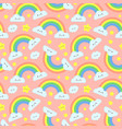 cute rainbow clouds seamless pattern pink starry vector image