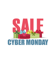 Cyber Monday sales promotion gift box on white bac vector image