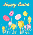 festive greeting easter card with eggs and chicken vector image vector image