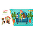 flat happy pets life concept vector image