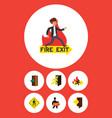flat icon door set of open door exit fire exit vector image vector image