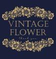 flower gold and blue vintage logo vector image