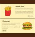 french fries and hamburger vector image vector image