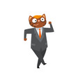 funny businessman cat in a suit humanized animal vector image