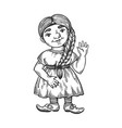 gnome girl engraving vector image vector image