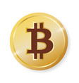 golden shiny bitcoin icon badge symbol vector image