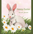 happy easter cute bunny rabbit card vector image