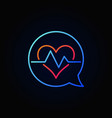 heartbeat in blue speech bubble outline vector image vector image