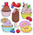 Icons colored candy dessert cupcakes vector image