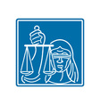 Lady Blindfolded Holding Scales of Justice vector image vector image