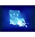 Louisiana state map polygonal with spotlights vector image vector image