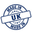made in uk blue grunge round stamp vector image vector image