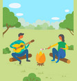 man and woman friends camping they are sitting vector image vector image
