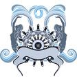 Marine emblem wheel and mermaid vector image vector image