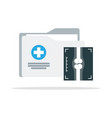 medical folder icon in flat style vector image vector image