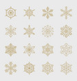 minimal golden snowflakes set vector image