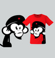 monkey with beret t-shirt design modern print use vector image