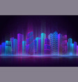 night city panorama colorful landscape retro vector image