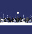 night winter countryside seamless border vector image