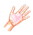 one hand hold heart vector image vector image