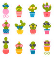 set cactuses with sunglasses isolated on white vector image