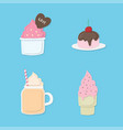set of colorful pastel sweet dessert ice cream vector image
