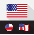 set usa america flag flat design vector image