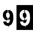 stencil numeral 9 and drip paint black on white vector image