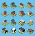 suburban residential houses isometric set vector image vector image