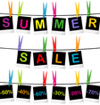 Summer sale concept with photo frames hanging on vector image