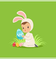 sweet little baby in bunny costume sitting on the vector image vector image